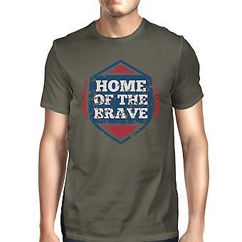 Home Of The Brave American Flag Shirt Mens Dark Gray Graphic Tshirt