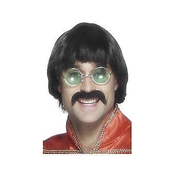 70 'er paryk med skæg musikere champignon hoved paryk