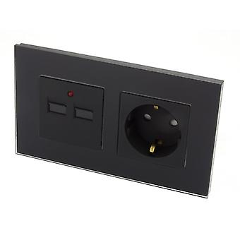 I LumoS Luxury Black Glass 16A German Schuko & 2.1A USB Charger EU Double Socket