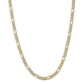 14k Gelb Gold 5,25 mm flache Figaro Kette - Länge: 20 bis 24