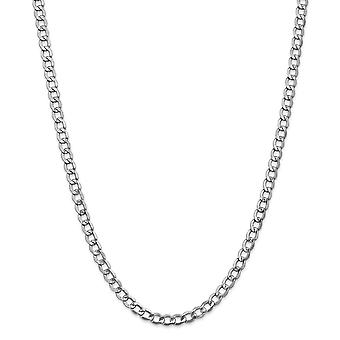 14k White Gold Hollow Polished Lobster Claw Closure 5.25mm Semi solid Curb Link Chain Necklace Jewelry Gifts for Women -