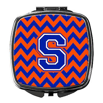 Carolines Treasures  CJ1044-SSCM Letter S Chevron Orange and Blue Compact Mirror