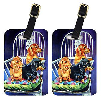 Pair of 2 Dachshunds Two Red and a Black and Tan Luggage Tags