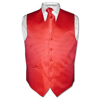 Men's Dress Vest NeckTie Horizontal Stripe Neck Tie Woven Design Set