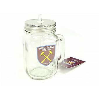 West Ham FC Official Football Mason Jar Drinks Mug