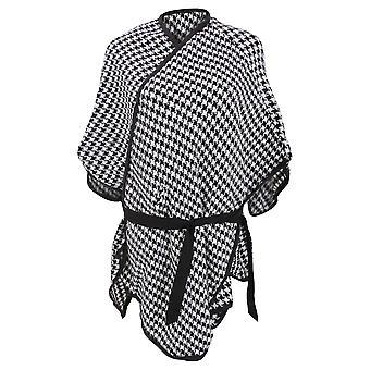 Womens/Ladies Houndstooth Pattern Winter Wrap With Waist Tie