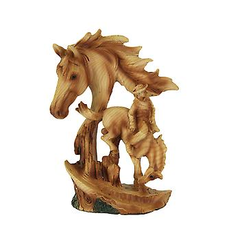 Bucking Bronco Decorative Faux Carved Wood Look Statue