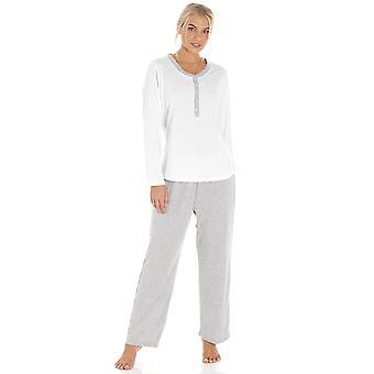 La valeur de gris Camille Pin Dot manches longues polyester/coton Pyjama