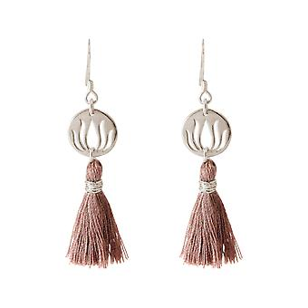 Gemshine Earrings Earrings 925 Silver Lotus Flower Tassel Rose YOGA 4 cm