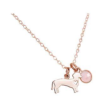 GEMSHINE kaula koru dachshund, koira ruusu kvartsi. 925 hopea, kullattu, ruusu