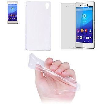 Sony Xperia M4 Aqua copertura mobile pocket ultra sottile solo 0,3 mm Custodia cover manica shell + serbatoio vetro vetro display protezione