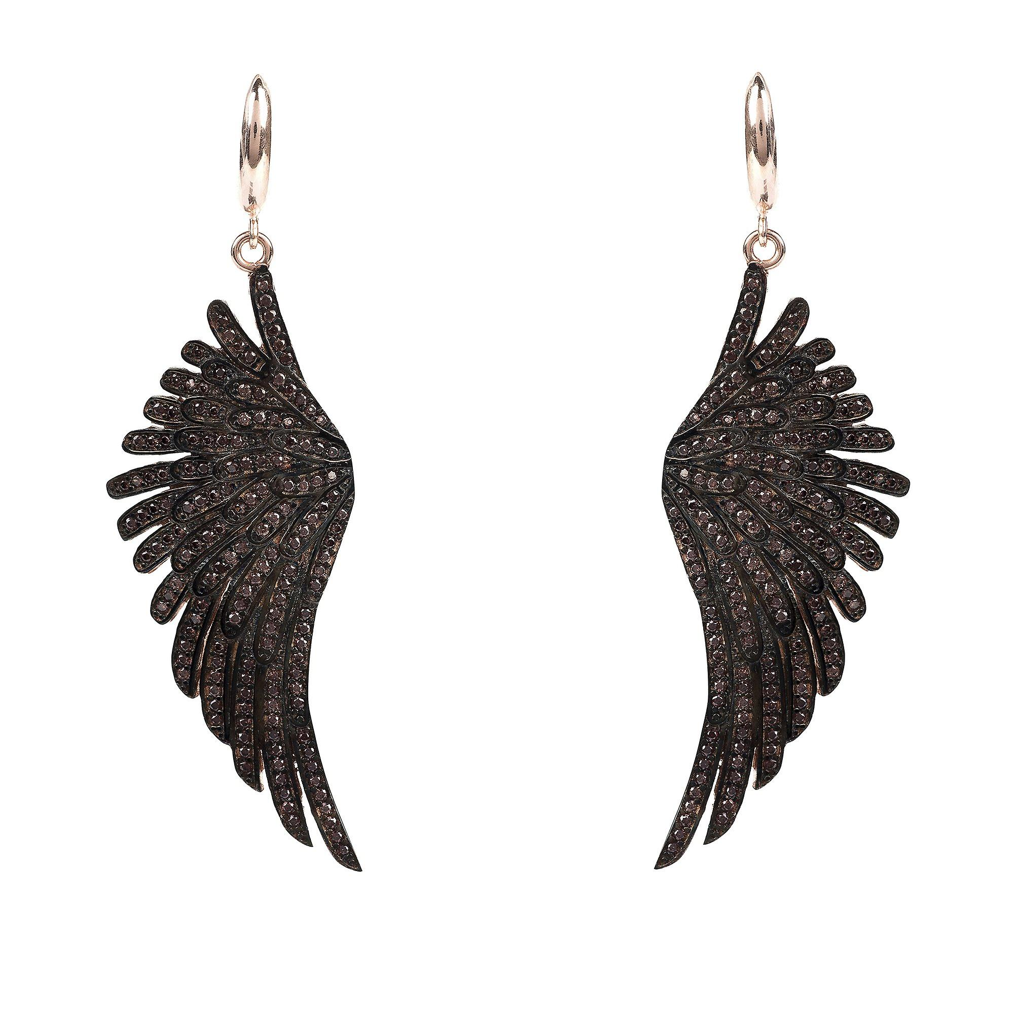 Latelita Earrings Angel Wings Feather Pink Rose Gold Brown Large Drop Dangle CZ
