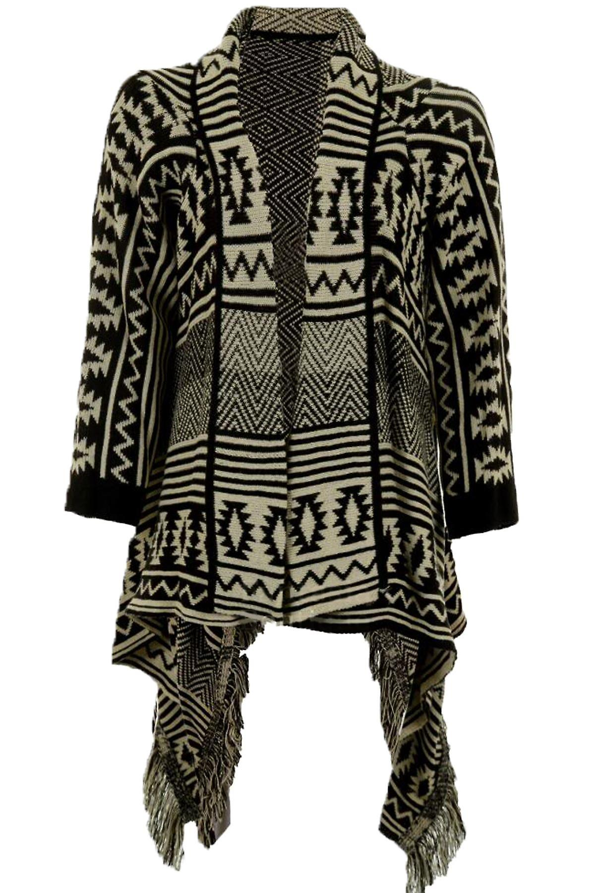 Naisten pitkähihainen Aztec raita Tassled lämmin ylimitoitettu Naisten Cardigan