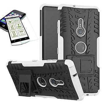 Per Sony Xperia XZ3 ibrido caso 2 pezzo bianco borsa custodia + temperato vetro
