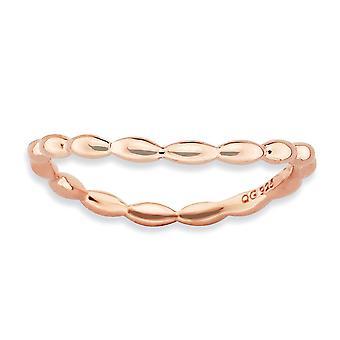 1.5mm 925 Sterling Argento modello stackabile Espressioni polacco piatto rosa onda anello gioielli per le donne - Ring S