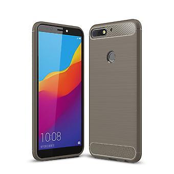 Huawei Honor 7C TPU Case Carbon Fiber Optik Brushed Schutz Hülle Grau