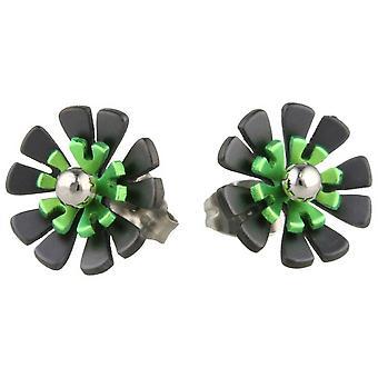 Ti2 Titanium Black zurück zehn Blütenblatt Blume Ohrstecker - frisches Grün