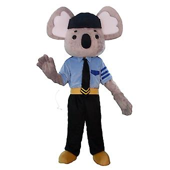 SPOTSOUND of gray and white koala mascot, dressed in police uniform