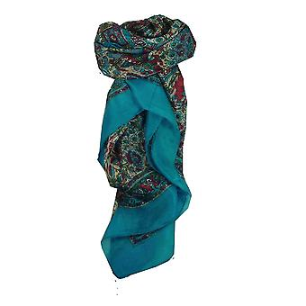 Mulberry traditionella Square sidenscarf Har Aquamarine av Pashmina & Silk