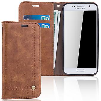Cell phone cover case voor Samsung Galaxy S7 cover Wallet case Brown