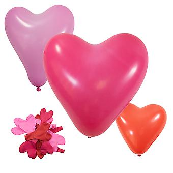 TRIXES Heart Shaped Balloons - Pack of 20  - Valentines Engagement Wedding Party Decoration - Pink Rose and Red
