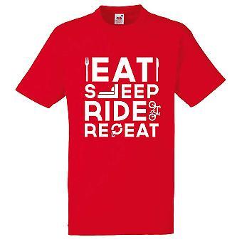 Miesten syödä nukkua ratsastaa toista pyöräily pyörä punainen t-paita