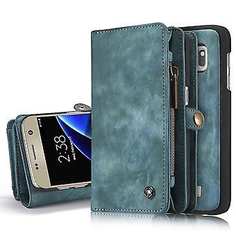 CASEME Samsung Galaxy S7 Portefeuille en cuir rétro Case-Blue