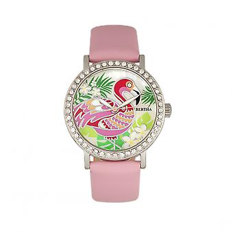 Bertha Luna Mother-Of-Pearl Leather-Band Watch - Light Pink
