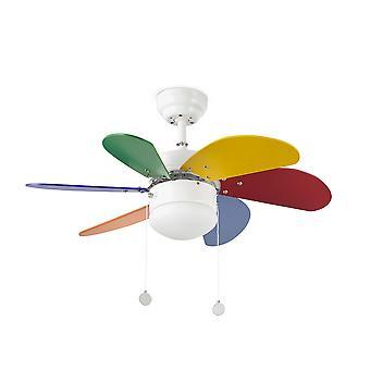 Faro - ventilador de techo blanco y multicolor de Palao pequeño con luz FARO33179