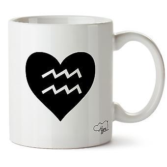 Hippowarehouse coração Aquarius impresso caneca copo cerâmico 10oz