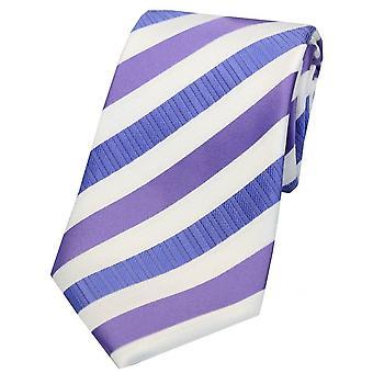 David Van Hagen Striped Tie Polyester - lilas/blanc