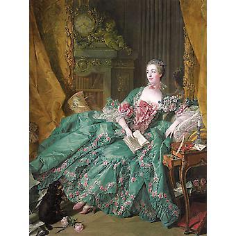 Madame de Pompadour,Francois Boucher,50x38cm