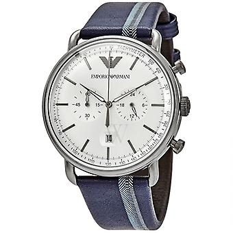 Emporio Armani Ar11202 Men's Silver Sunray Dial Blue Leather Watch