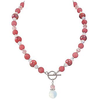 Eternal Collection Harmony Coral Pink Jade And Crystal Ceramic Beaded Necklace