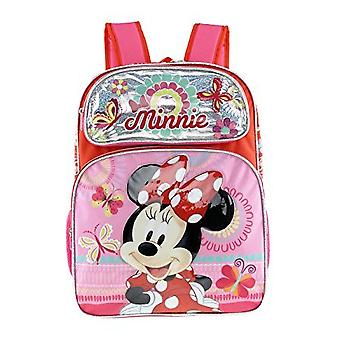 Backpack - Disney - Minnie Mouse - Red/Silver Flower+Butterfly New 135591-2