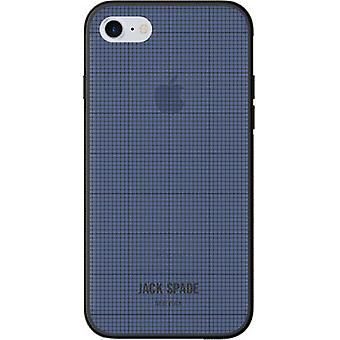 Original Jack Spade Printed Clear Case for iPhone 8/7 - Graphic Check/Navy Blue
