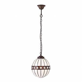 1 ljus Small Globe tak hänge mörk brons, Tiffany glass