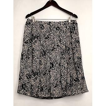 Who What Wear Skirt Printed Side Zippered w/ Overlay Black Womens
