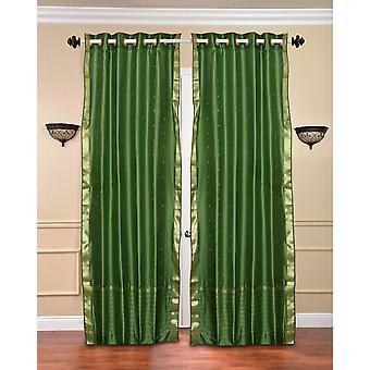 Foresta verde anello superiore Sari pura tenda / drappo / pannello - pezzo