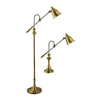 Brass watson adjustable pharmacy lamps (set of 1 floor and 1 table lamp) stein world