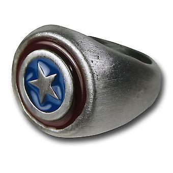Captain America børstet nikkel ring