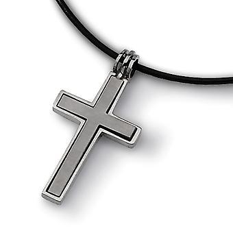 Titan gebürstet poliert bewegliche norig enverträgliche Phantasie Hummer Verschluss Leder Schnur religiösen Glauben Kreuz Halskette 18 Zoll
