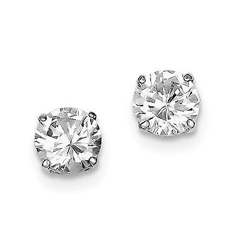 925 Sterling Silver Polished Round Cubic Zirconia 8mm Post Earrings