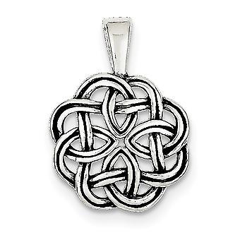 925 Sterling Sølv Solid Polert tilbake finish Irsk Claddagh Celtic Trinity Knute Anheng Halskjede Smykker Gaver til Wom