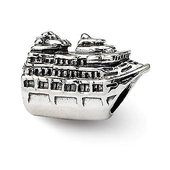 925 Sterling Silber poliert Finish Reflexionen Kreuzfahrtschiff Perle Anhänger Anhänger Halskette Schmuck Geschenke für Frauen
