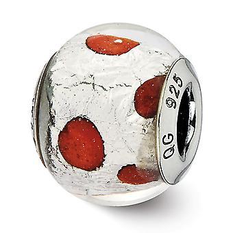 925 Plata esterlina pulido acabado italiano Murano vidrio reflejos italiano murano plata y vidrio rojo perlas encanto Pend