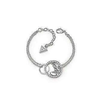 Guess Jewellery Guess Rhodium Plated Bracelet Interlocking Circles UBB85143-L