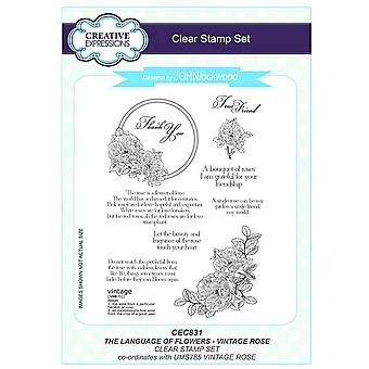 Creative Expressions John Lockwood's Language of Flowers A5 Clear Stamp Set - CEC831 Vintage Rose