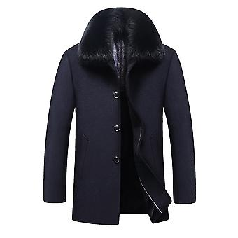 Allthemen Men's Detachable Fur Collar Thick Warm Business Casual Overcoat