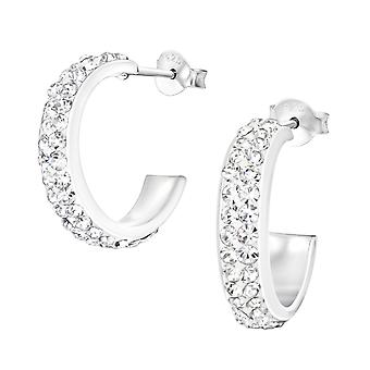 Semi Hoops - 925 Sterling Silver Crystal Ear Studs - W14783x